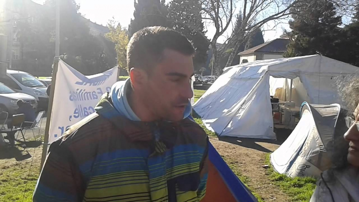 ACERGA fishing skipper Marcos Alfeirán during the protest camp in late 2015, NOS Television