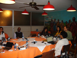 The Advisory Committee discusses how to implement legal strategies for climate adaptation at the Hotel Boulevard's conference facilities in Nairobi, May 2010.