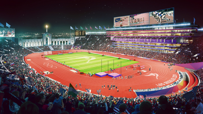 The L.A. Coliseum will host the Olympics for a third time in 2024, after also being home to the 1932 and 1984 games (Photo: LA2024).