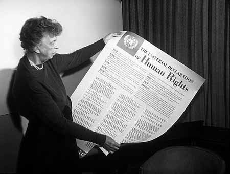 Eleanor Roosevelt is widely credited for inspiring the UN Human Rights Declaration adopted in 1948. She served as Chairperson of the Human Rights Commission as part of her U.N. tenure.