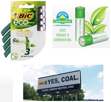 Examples of environmentally marketed products.