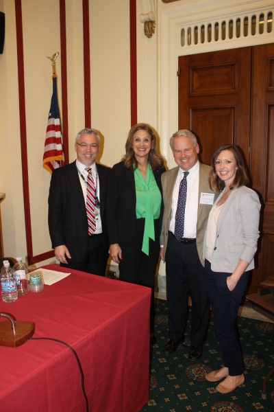 Left to Right: John Dukes, Executive Director of Sales: Federal & Public Sector, Constellation Energy; Amanda Simpson, Executive Director, U.S. Army Office of Energy Initiatives; Michael Vandenbergh, David Daniels Allen Distinguished Chair of Law at Vanderbilt University; Kristen Rasnic, Vanderbilt University Law School student