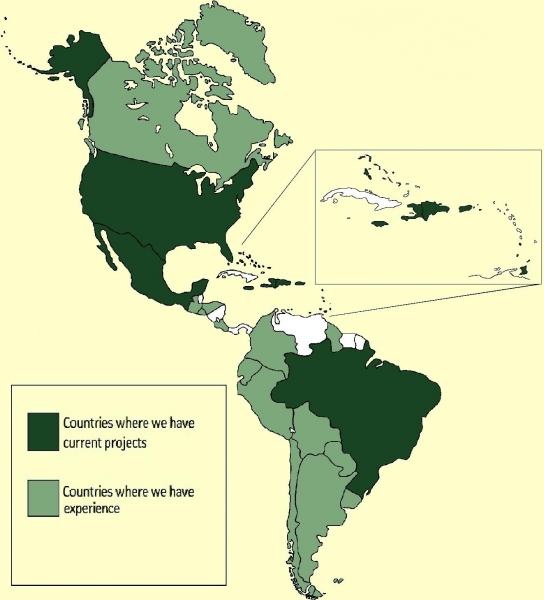 map of countries in western hemisphere where ELI work or has worked