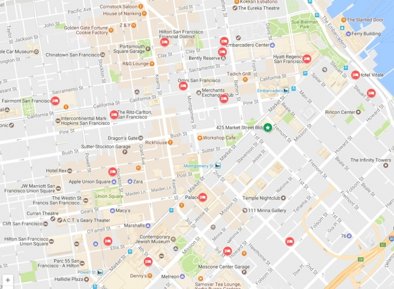 Map of Nearby Hotels to MoFo