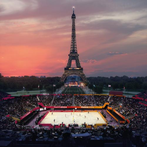 Temporary venues, such as the Champ de Mars beach volleyball stadium, will create stunning visuals and limit the games' environmental impact (Photo: Paris 2024)