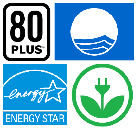 Clockwise from top left: 80 Plus, Blue Flag, EKOenergy, and Energy Star certify environmentally friendly practices for the computer, beach tourism, and energy industries.