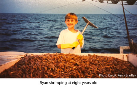 Ryan Bradley shrimping at eight years old