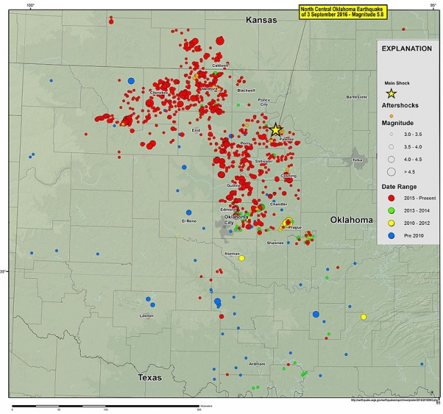 A USGS map reveals the dramatic increase in Oklahoma's seismic activity (USGS).