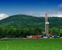 A Marcellus shale gas-drilling site along Route 87, Lycoming County, PA.