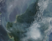 Smoke rising from Indonesia due to illegal burning of peatlands (NASA/GSFC)