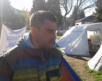 ACERGA fishing skipper Marcos Alfeirán during the protest camp in late 2015, NOS