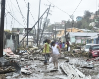 Destruction of the energy infrastructure on the island of Dominica, following Hu