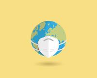 virus mask over the globe