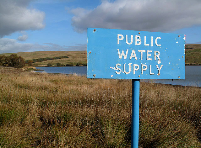 Public water supply sign, Walter Baxter