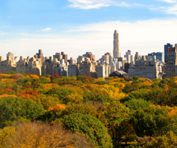 New York City autumn scene overlooking Central Park