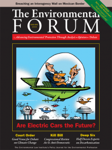 Cover of the March/April 2019 issue of The Environmental Forum; depicts George Jetson driving a spaceship; a scared-looking man who is holding a briefcase and dressed in a suit is sitting in the passenger seat.